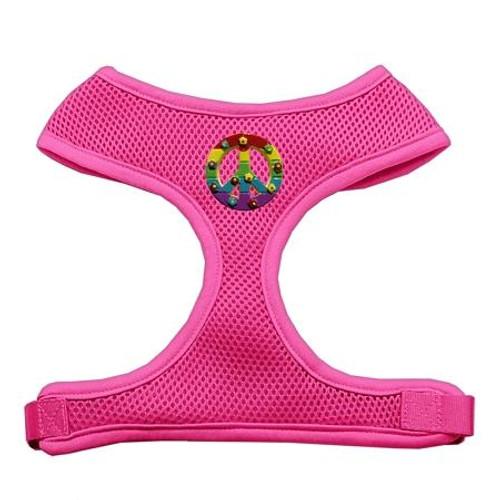 Rainbow Peace Sign Chipper Pink Harness Medium