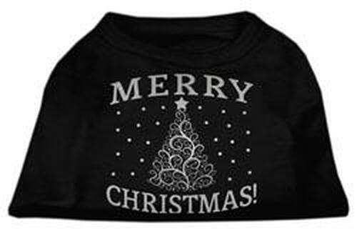Shimmer Christmas Tree Pet Shirt Black Med (12)
