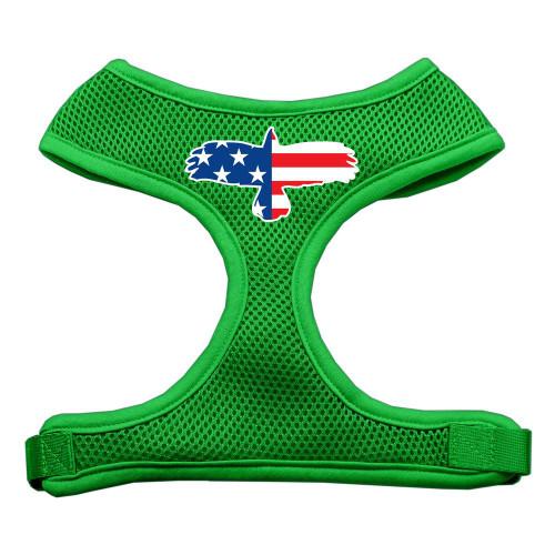 Eagle Flag  Screen Print Soft Mesh Harness Emerald Green Small