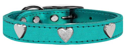 Silver Heart Widget Genuine Metallic Leather Dog Collar Turquoise 16