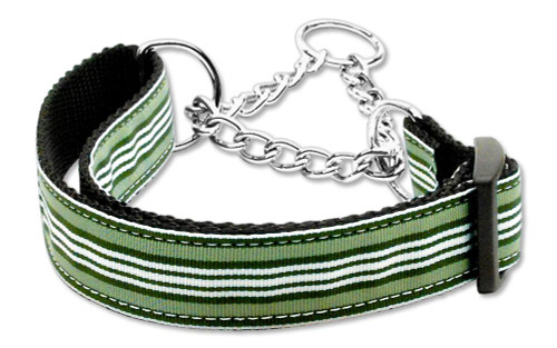Preppy Stripes Nylon Ribbon Collars Martingale Green/white Medium