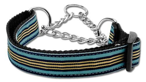 Preppy Stripes Nylon Ribbon Collars Martingale Light Blue/khaki Medium