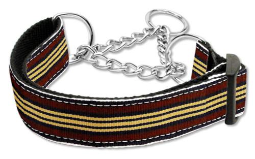 Preppy Stripes Nylon Ribbon Collars Martingale Brown/khaki Medium