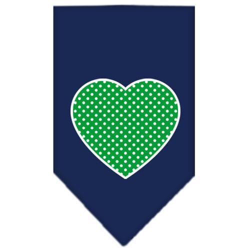Green Swiss Dot Heart Screen Print Bandana Navy Blue Small