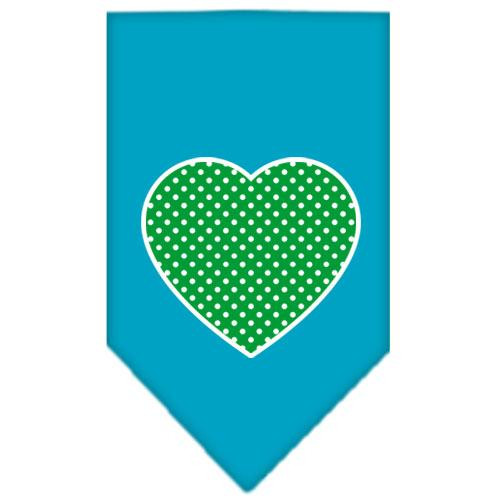 Green Swiss Dot Heart Screen Print Bandana Turquoise Small