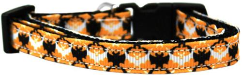 Bat Argyle Nylon Dog Collar Sm
