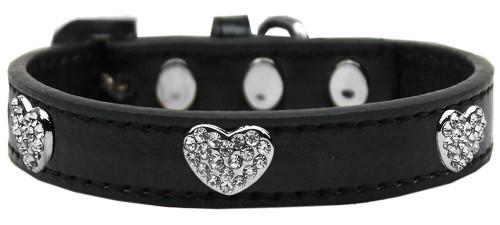 Crystal Heart Dog Collar Black Size 18
