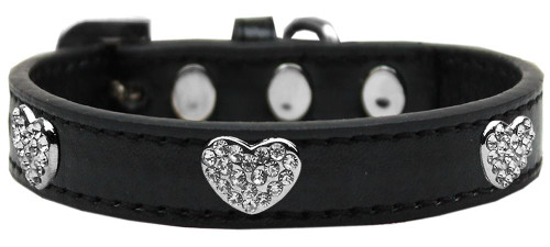 Crystal Heart Dog Collar Black Size 10