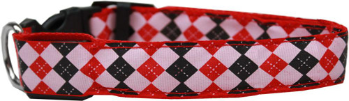 Led Dog Collar Argyle Red Size Medium