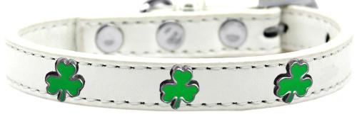 Shamrock Widget Dog Collar White Size 10