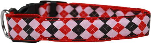 Led Dog Collar Argyle Red Size Small