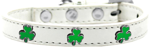 Shamrock Widget Dog Collar White Size 12