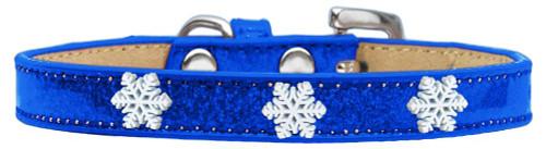 Snowflake Widget Dog Collar Blue Ice Cream Size 14