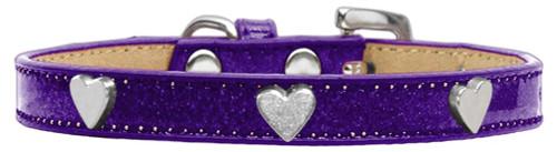 Silver Heart Widget Dog Collar Purple Ice Cream Size 14
