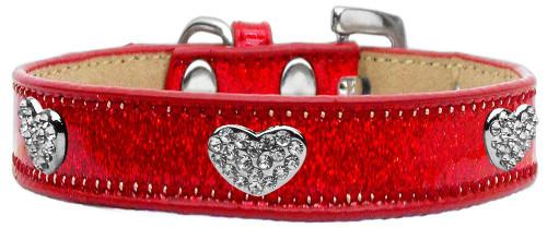 Crystal Heart Dog Collar Red Ice Cream Size 16