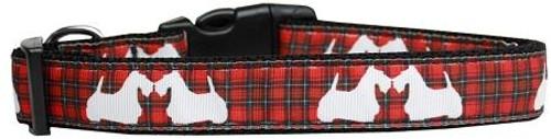 Red Plaid Scottie Pups Nylon Dog Collar Large
