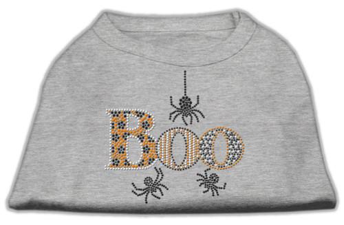 Boo Rhinestone Dog Shirt Grey Xl (16)