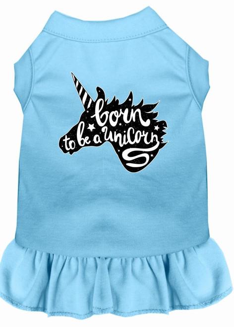 Born To Be A Unicorn Screen Print Dog Dress Baby Blue Xl (16)