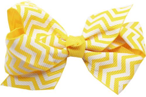 Hair Bow Chevron Alligator Clip Yellow