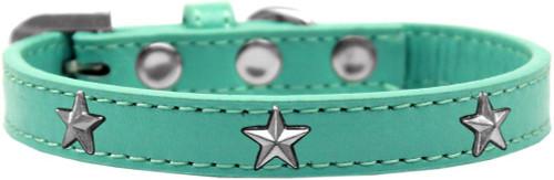 Silver Star Widget Dog Collar Aqua Size 14