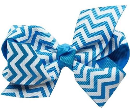 Hair Bow Chevron Alligator Clip Turquoise