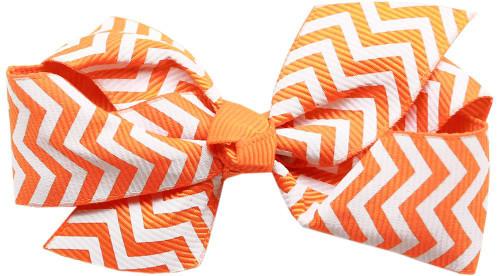 Hair Bow Chevron Alligator Clip Orange