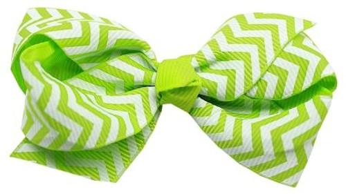 Hair Bow Chevron French Barrette Green