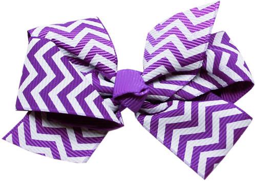 Hair Bow Chevron Alligator Clip Purple