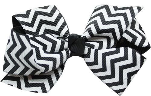 Hair Bow Chevron French Barrette Black