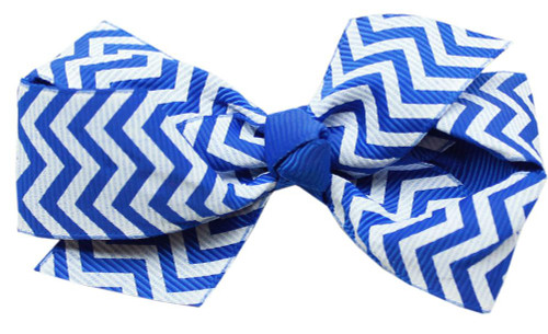 Hair Bow Chevron French Barrette Blue