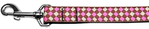 Pink Checkers Nylon Dog Leash 1 Wide 6ft Lsh