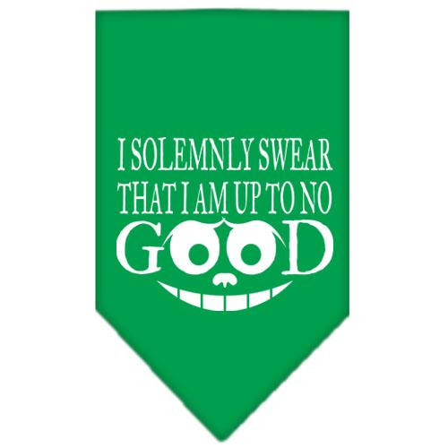 Up To No Good Screen Print Bandana Emerald Green Small
