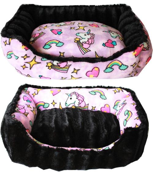 Reversible Bumper Dog Bed Pink Unicorn Xs