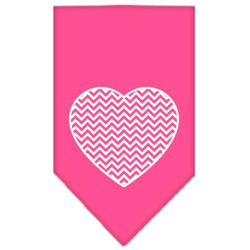 Chevron Heart Screen Print Bandana Bright Pink Large