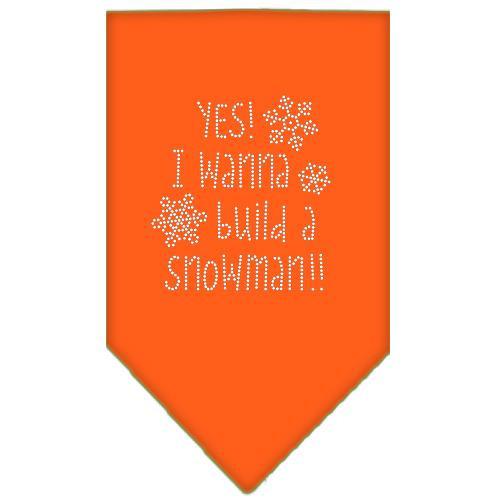 Yes! I Want To Build A Snowman Rhinestone Bandana Orange Large