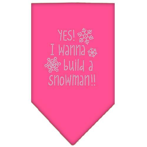 Yes! I Want To Build A Snowman Rhinestone Bandana Bright Pink Small