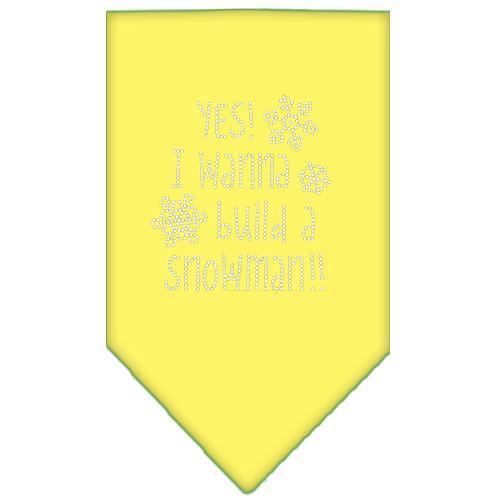 Yes! I Want To Build A Snowman Rhinestone Bandana Yellow Large