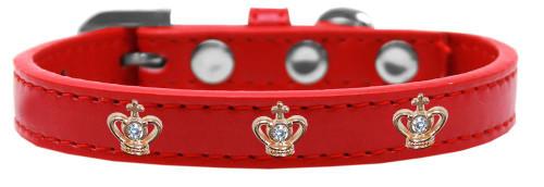 Gold Crown Widget Dog Collar Red Size 20