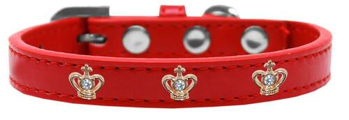 Gold Crown Widget Dog Collar Red Size 10