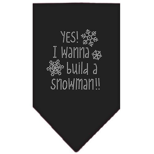 Yes! I Want To Build A Snowman Rhinestone Bandana Black Large