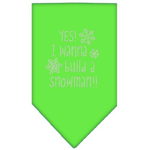 Yes! I Want To Build A Snowman Rhinestone Bandana Lime Green Large