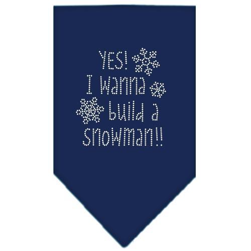 Yes! I Want To Build A Snowman Rhinestone Bandana Navy Blue Large