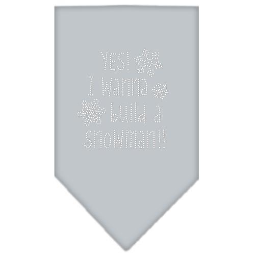 Yes! I Want To Build A Snowman Rhinestone Bandana Grey Large
