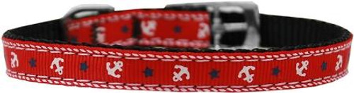 """Anchors Nylon Dog Collar With Classic Buckle 3/8"""" Red Size 14"""
