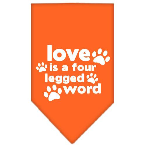 Love Is A Four Leg Word Screen Print Bandana Orange Small