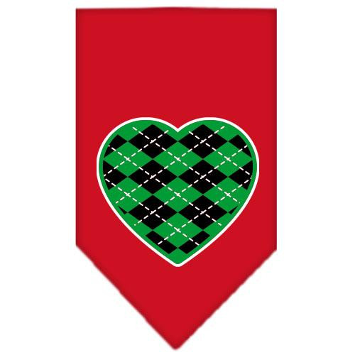 Argyle Heart Green Screen Print Bandana Red Small
