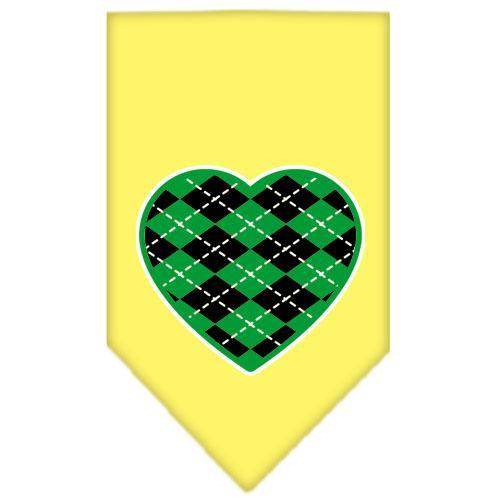 Argyle Heart Green Screen Print Bandana Yellow Small