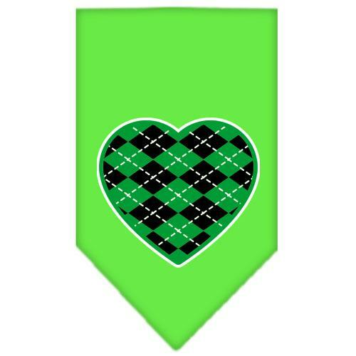 Argyle Heart Green Screen Print Bandana Lime Green Small