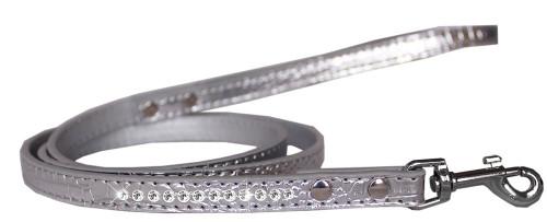 Clear Jewel Croc Leash Silver 1/2'' Wide X 4' Long