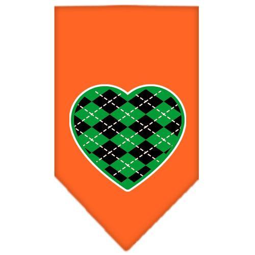 Argyle Heart Green Screen Print Bandana Orange Small